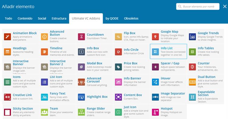 elementos que maximizan las funcionalidades de Visual Composer.