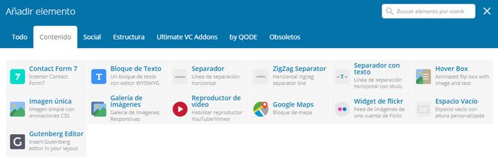 Elementos audiovisuales y gráficos de Visual Composer