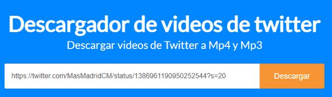 Descargador de vídeos de Twitter